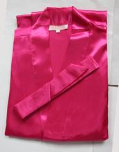New Hot Pink Silk Bridesmaid Wedding Robe Women Short Sexy Lingerie Kimono Bath Gown Sleepwear Plus Size S M L XL XXL XXXL NR051(China (Mainland))