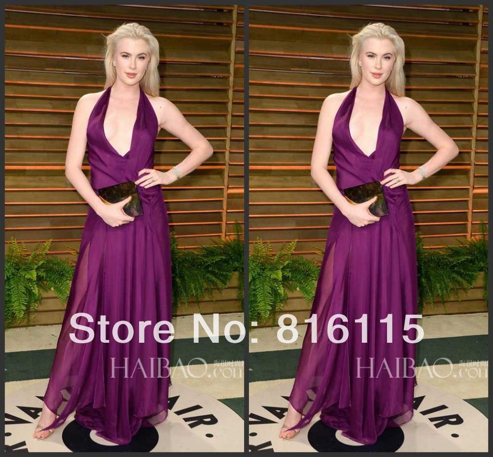 Sexy Halter Celebrity Red Carpet Dress Ireland Baldwin Evening Gown Purple Women Evening Dress Backless DE09(China (Mainland))