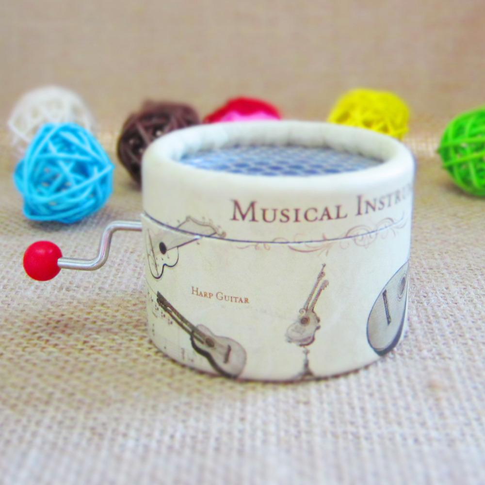 Paper round shape hand crank music box standard 18 Notes music box movement DIY Angela's gifts-free shipping(China (Mainland))