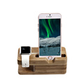 SeenDa Vogue Safety Charging Holder Stand Bamboo Wood Base Bracket Docking Mount for Apple Watch iPhone 6 6Plus 5 5S 5C 4 4S