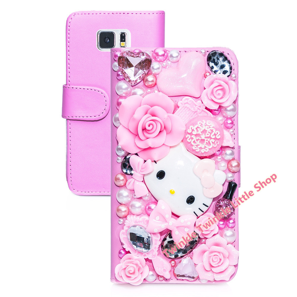 Cute hello kitty crystal flip wallet leather case for for Housse de voiture hello kitty