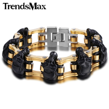 Buy Trendsmax 18mm/22mm Boys Mens Friendship Chain Skulls Link Biker Motorcycle Link 316L Stainless Steel Bracelet HBM66 for $21.99 in AliExpress store