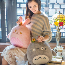 Buy Cute Cartoon Animal Plush Pillow Blanket Staffed Soft Rabbit Totoro Bear Dog Pillow Air Conditioning Blanket Nice Gift for $21.39 in AliExpress store
