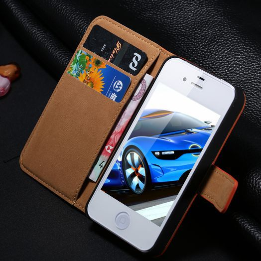Elegant Genuine Leather Case for Apple iPhone 4 4S 4G Wallet Stand Card Holder Pouch Luxury Vintage Retro Flip Cover for iphone4(China (Mainland))