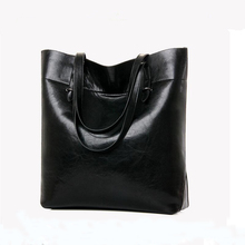 2016 genuine leather bag women handbag cowhide wax real leather shoulder bag black big bag tote bolsa feminina