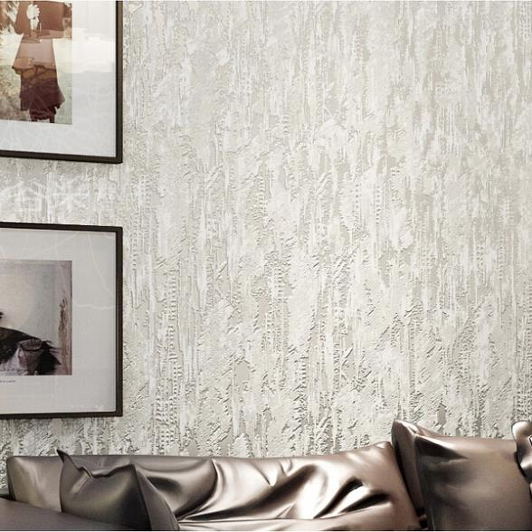 Cream White 3D Flocking Abstract Embossed Textured