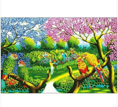 Factory Shop First Class Cross Stitch Kits Birds' Twitter and Fragrance of Flowers Best Choice(China (Mainland))