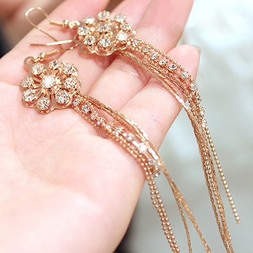Ladies Ferris Wheel Party Crystal Long Tassels Rhinestone Hook Dangle Linear Earrings 99IB(China (Mainland))