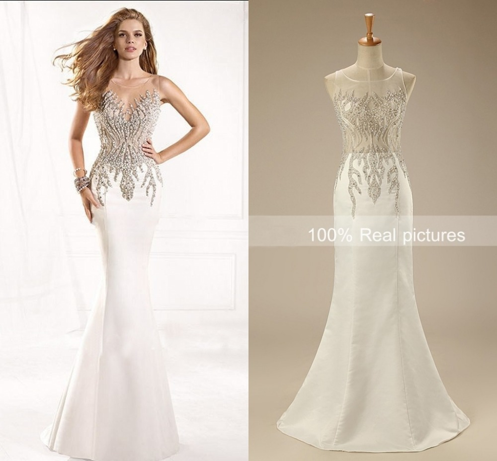 Fashionable Long Mermaid Evening Dresses 2015 High Neck Back Transparent Beading Cheap Formal Evening Gown(China (Mainland))