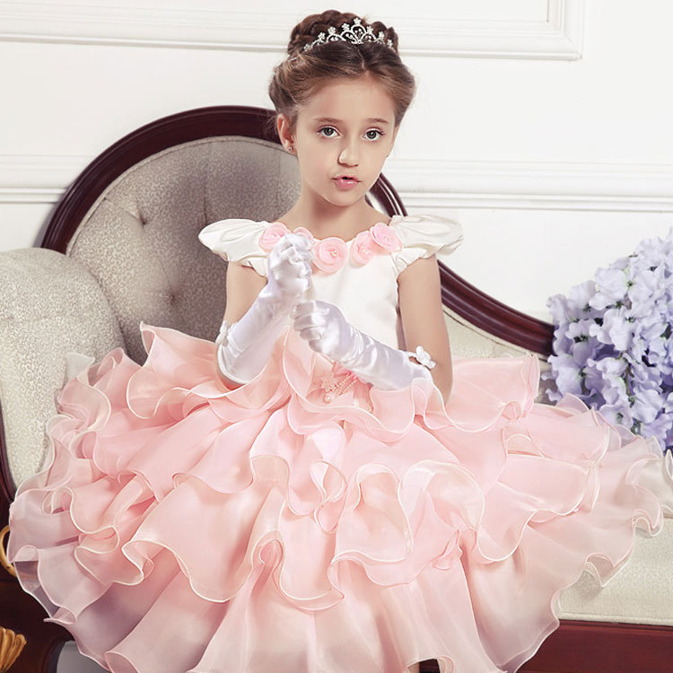 2015 First CommunionOff-the-shoulder Dresses kids Frock Designs PartyOrganza GirlPro Dresse Kids Evening Grows Flower Girl GW005(China (Mainland))