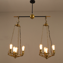 Buy Retro industry pendant lights Creative Restaurant Coffee Bar Bar Personal Retro Industrial Wind Gold Iron 2/5/8 pendant lamps ZA for $285.00 in AliExpress store
