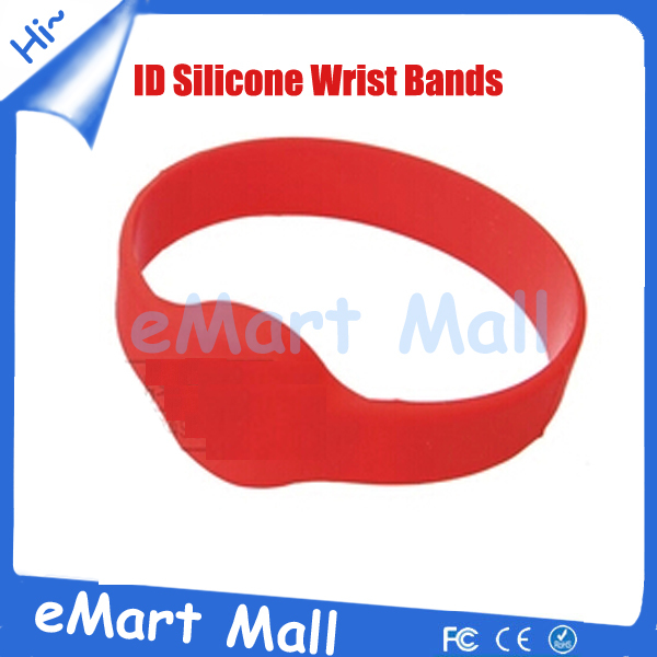 Free Shipping 5PCS Red Color Waterproof 125khz Rfid Proximity ID Card Silicone Wrist Bands / RFID Wrist Card For Access Control(China (Mainland))