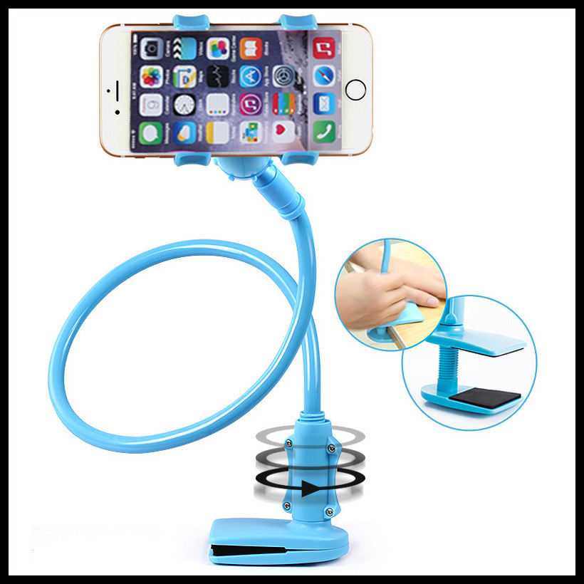 New Universal Long Arm 360 degree rotating Lazy Mobile Phone Stand Holder Stents Flexible Bed Desk Table Clip Bracket For iphone(China (Mainland))