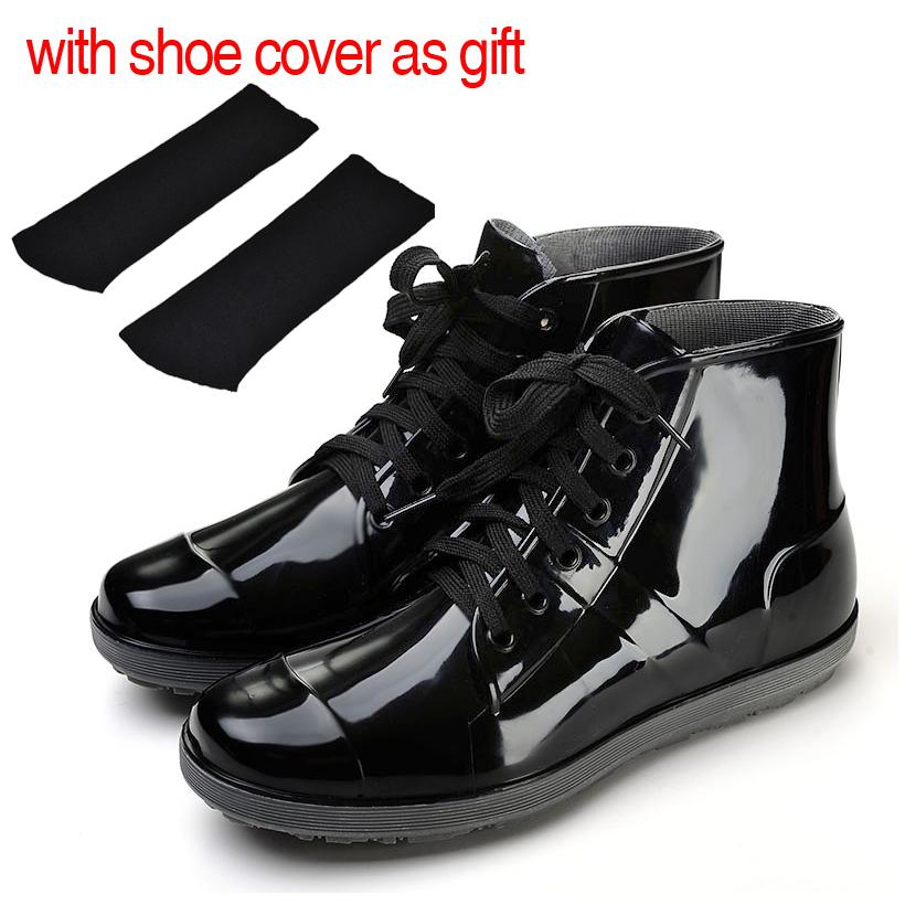 Short Men rain boots plus size boots fashion waterproof shoes rain shoes low rainboots(China (Mainland))
