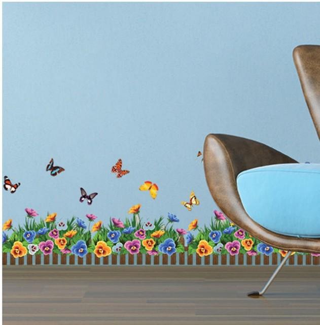 Flower wallpaper modern kitchen decorations