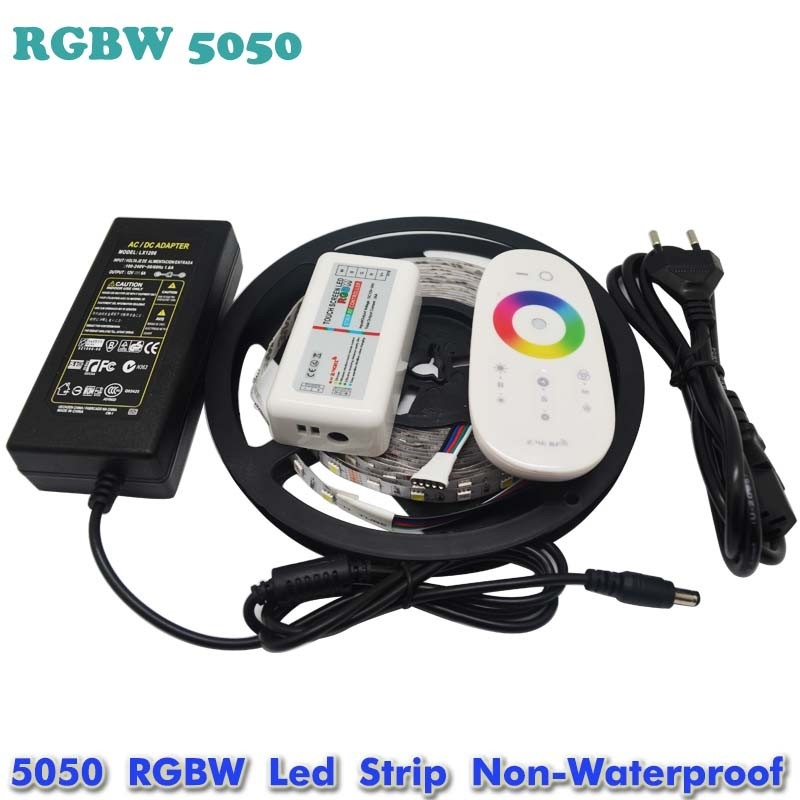 5M RGBW RGBWW 5050 SMD LED Strip Light Non Waterproof DC12V RGB+White Diode Tape +RGBW Remote Controller+ 12V 5A Power Adapter(China (Mainland))