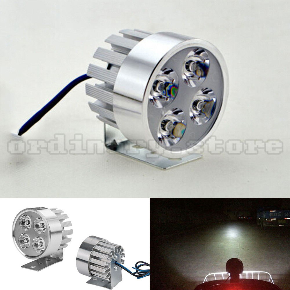 Silver electric motor bike motorcycle 12w 4 led headlight for Dc motor light led