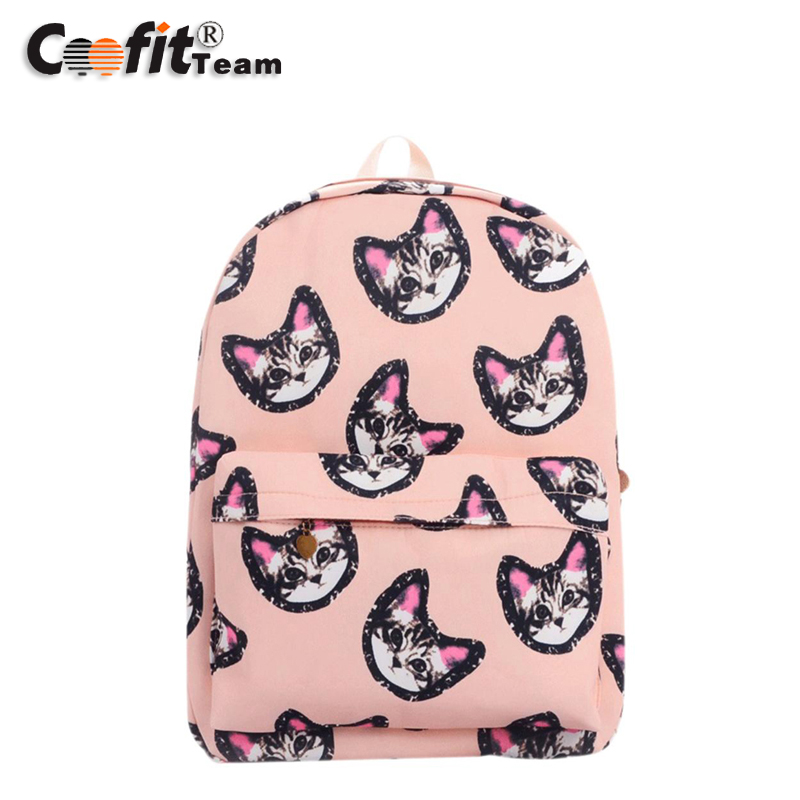 Free shipping 2016 Hot Sale School Bags Lovely Kitty Cartoon Backpack Canvas Rucksack Outdoor Travel Bag Packsack Wholesale(China (Mainland))