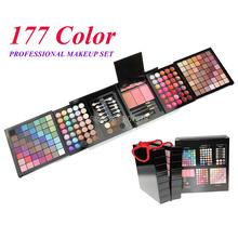 Free Shipping 177 Color PRO Makeup Set Eyeshadow Palette Blush Lip Gloss Brow Shader Concealer Eyeshadow Gel + Brush(China (Mainland))