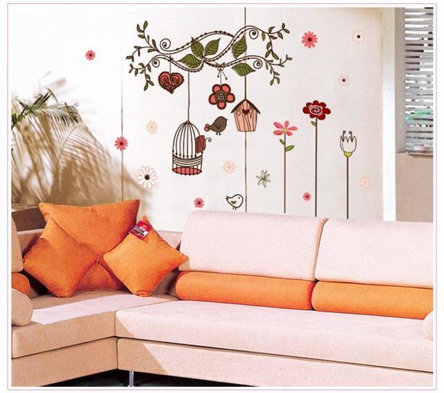 Дети комикс маленькая птицы гнездо цветок 7102 пвх стена наклейка спальня сидя комната гостиная отличительные знаки