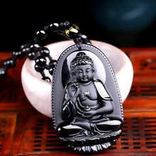 High Quality Unique Natural Black Obsidian Carved Buddha Lucky Amulet Pendant Necklace For Women Men pendants Jade Jewelry(China (Mainland))