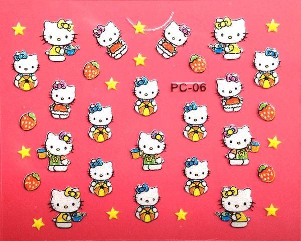 20pcs/lot cartoon hello kitty nail sticker/3D water transfer sticker/ nail decals/ 3D nail decals/ / new QJ series nail sticker(China (Mainland))
