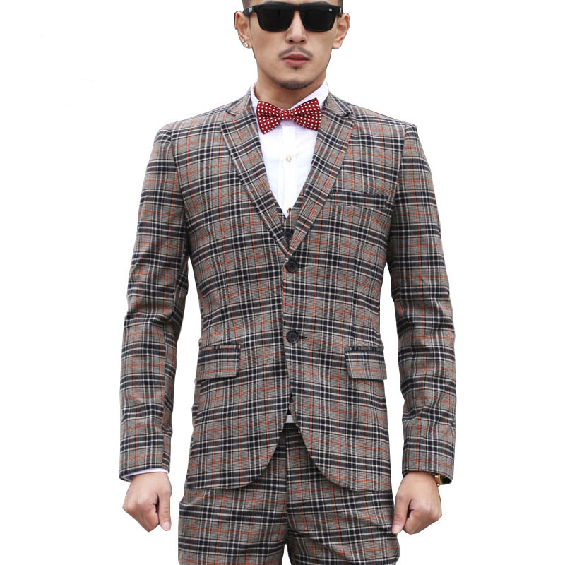Fashion mens clothing gray plaid suit 3 piece suit + vest + trousers business suits casual male slim blazers terno masculino260RОдежда и ак�е��уары<br><br><br>Aliexpress