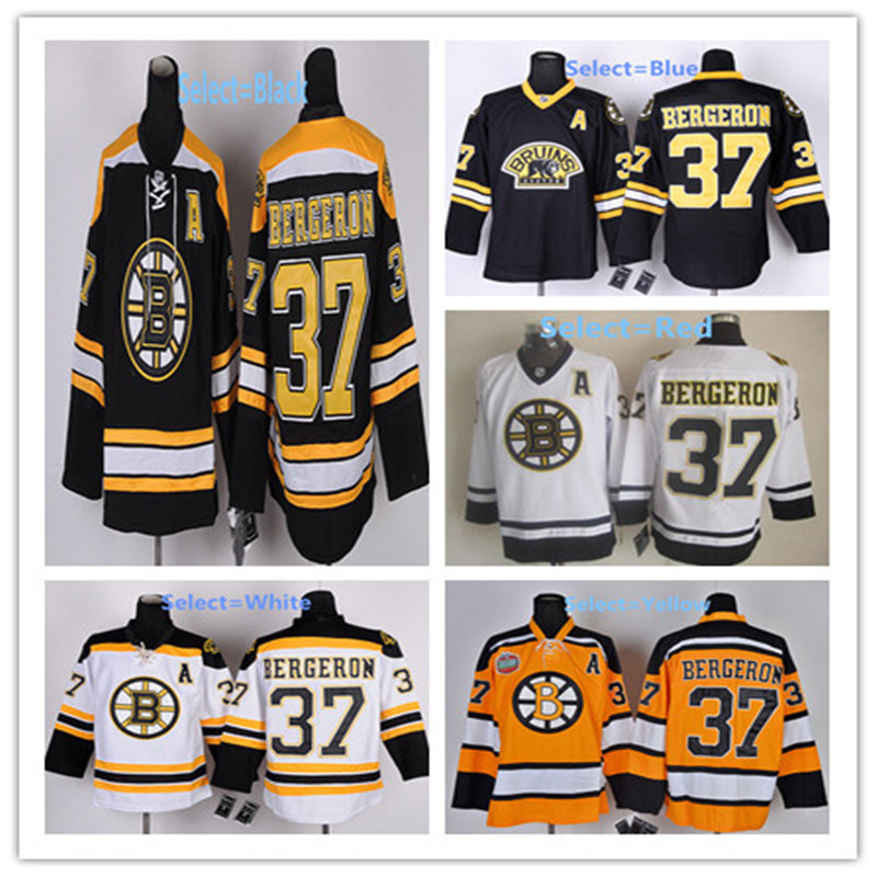Mens #37 Patrice Bergeron Blue Gold White Black Home 100% Embroidery Hockey Jerseys High Quality free shipping(China (Mainland))