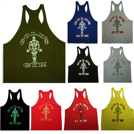 Men's Bodybuilding Golds Gym Stringer Tank Tops Fitness Workout Racerback Singlet High Quality 100% Cotton Gym Tank Undershirt(China (Mainland))