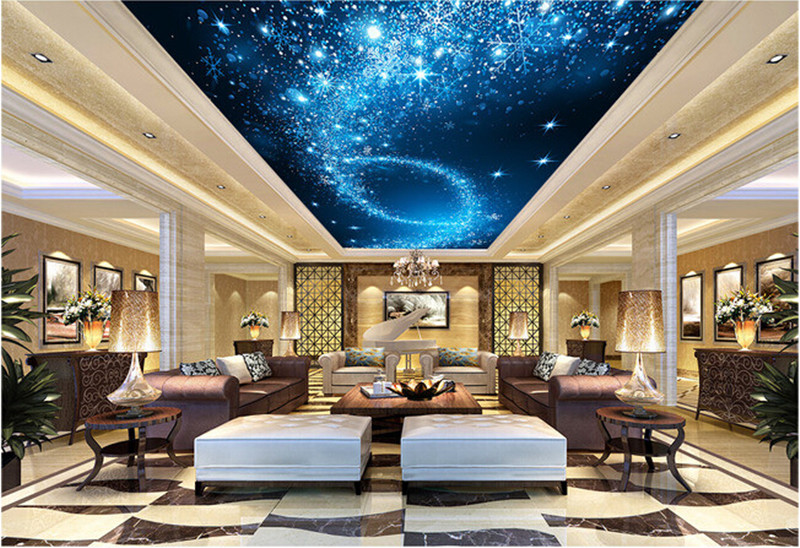 Custom 3d murals 3d starlight night sky ceiling frescoes - Night sky painting on ceiling ...