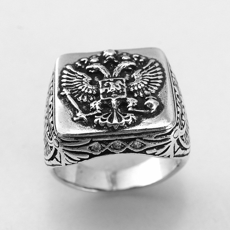 fine jewelry Exclusive eagle ring with a coat of arms of the Russian ring men's adorned with cubic zirconia JZ028(China (Mainland))
