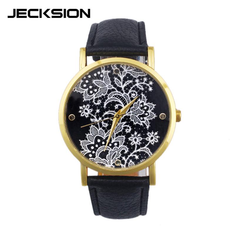 JECKSION Women Flower Lace Watch Luxury Brand Quartz Watch Round Leather Dress WristWatch relogio feminino Free Shipping<br><br>Aliexpress