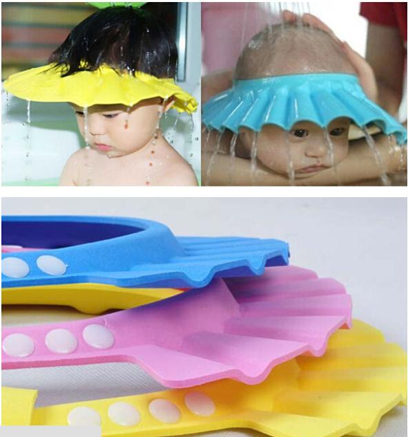 2015 Hot Adjustable Soft Baby Shampoo Shower Cap Baby Care Bath Protection For Kid(China (Mainland))