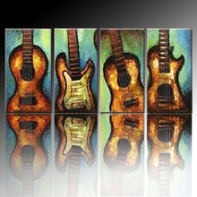 Professional Artist Supply High Quality Abstract Musical Instrument Oil Painting On Canvas Handpainted Guitar Oil Painting(China (Mainland))