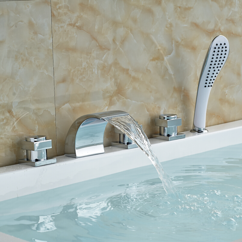 Chrome Finish Deck Mount Walk in Tub Faucet Waterfall Spout with Shower Sprayer(China (Mainland))