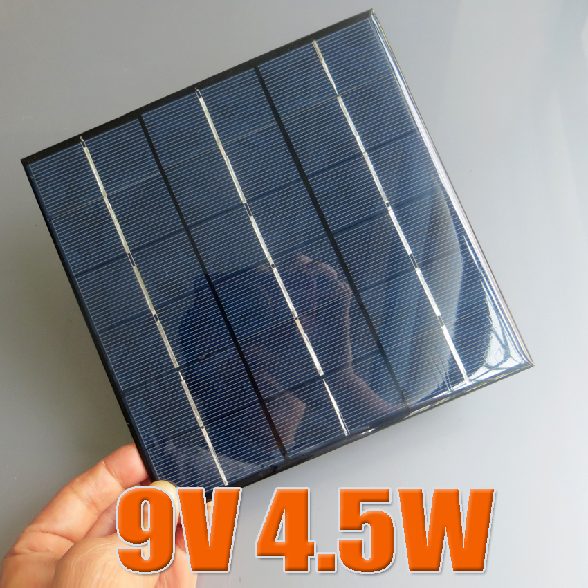 9V 4.5W 500mA Mini polycrystalline solar Panel, 9VDC 5W solar cells module battery charger enducation kits(China (Mainland))