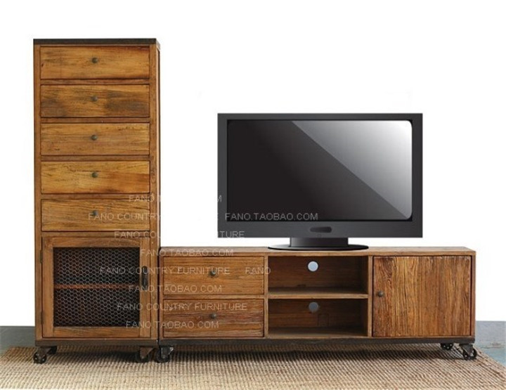 industrial retro style wood , wrought iron four pairs of pumping a TV ...