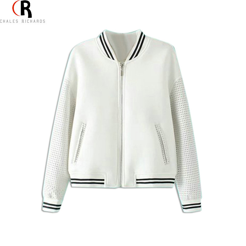 CHOIES Women Bomber Jacket 2016 Black and White Long PU Sleeve Round Neck Autumn Winter Coat Sport Loose Casual Outwear(China (Mainland))