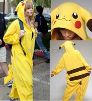 Thick Flannel Pokemon Romper Pikachu Costume For Halloween Carnival Party Christmas Adult Onesie Jumpsuit for Cosplay