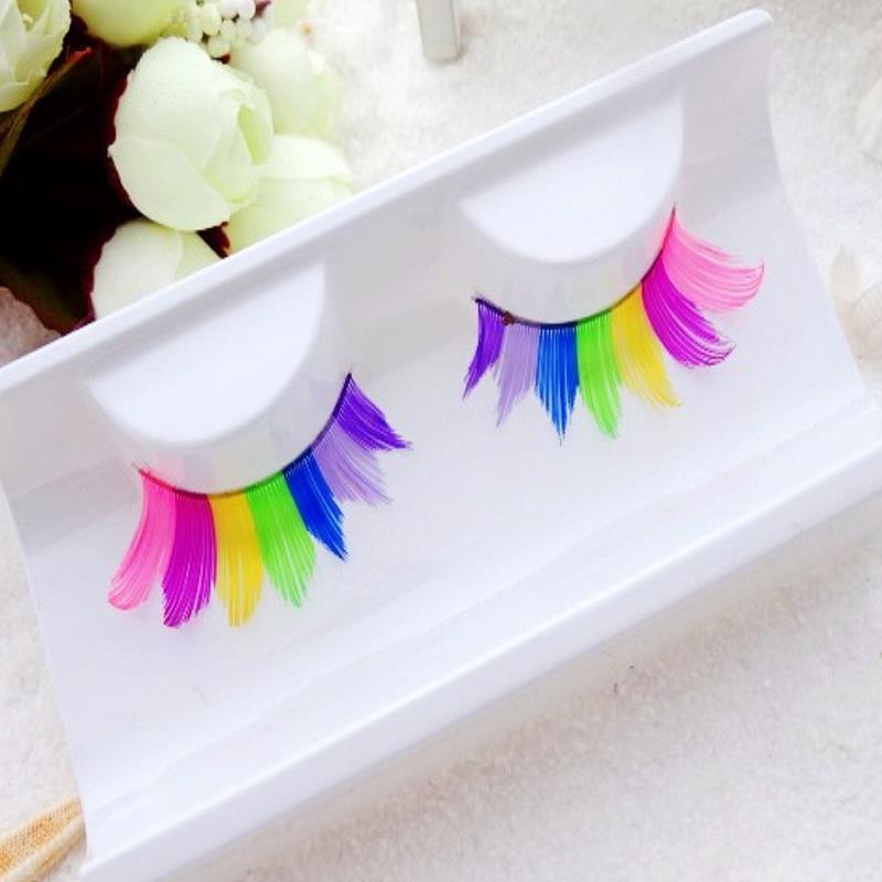 maquiagem eyelashes cilios creative handmade Rainbow False eyelashes makeup extension eye lashes profissional(China (Mainland))