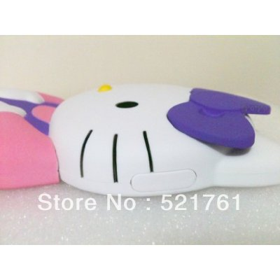 3D Hello Kitty Cute Adorable Shape Silicone soft Cover Case Skins for Apple iPhone 4 4S Purple-Pink ( Free shipping)