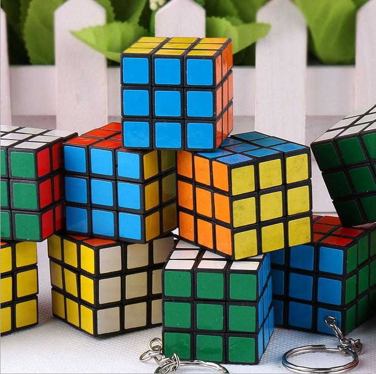 New Design Interesting puzzle Keychain Rubik's Cube phone pendant Korean version of mini cube pendant(China (Mainland))