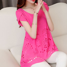 Plus Large Big Size 2015 Summer Women Short Sleeve Chiffon Blouses Spliced Ladies Solid Casual Shirt Tops Blusas 5XL Y0627-39D(China (Mainland))