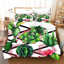 Tropical Rainforest Plant Bedding Set Duvet Covers Pillowcases Fruit Cactus Bed Set Comforter Bedding Sets Bedclothes Bed Linen(China)