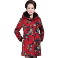 Chinese Women Thicken Puffer Jacket Middle Aged Woman Flower Hooded Quilted Coat Warm Fleece Lined Jackets