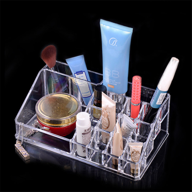 Transparent crystal cosmetics storage box housewares plastic combination Slot storage box factory direct free shipping S416(China (Mainland))
