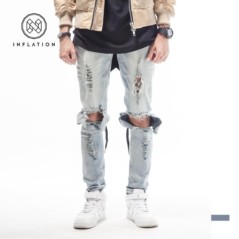 BLUE BLACK high quality mens designer brand jeans big hole ripped destroyed biker 2015 street kanye west tyga style clothes swagОдежда и ак�е��уары<br><br><br>Aliexpress