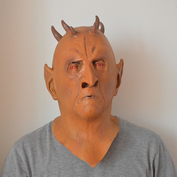 Hexagonal mask wigs devil terror animal