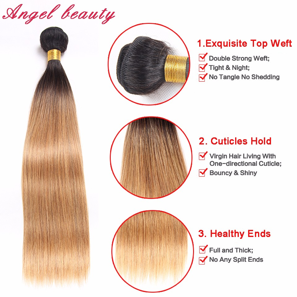 Brazilian Virgin Hair 4 Bundles Deals Ombre Brazilian Hair Bundles 7A Blonde Brazilian Straight Hair Ombre Human Hair Extensions