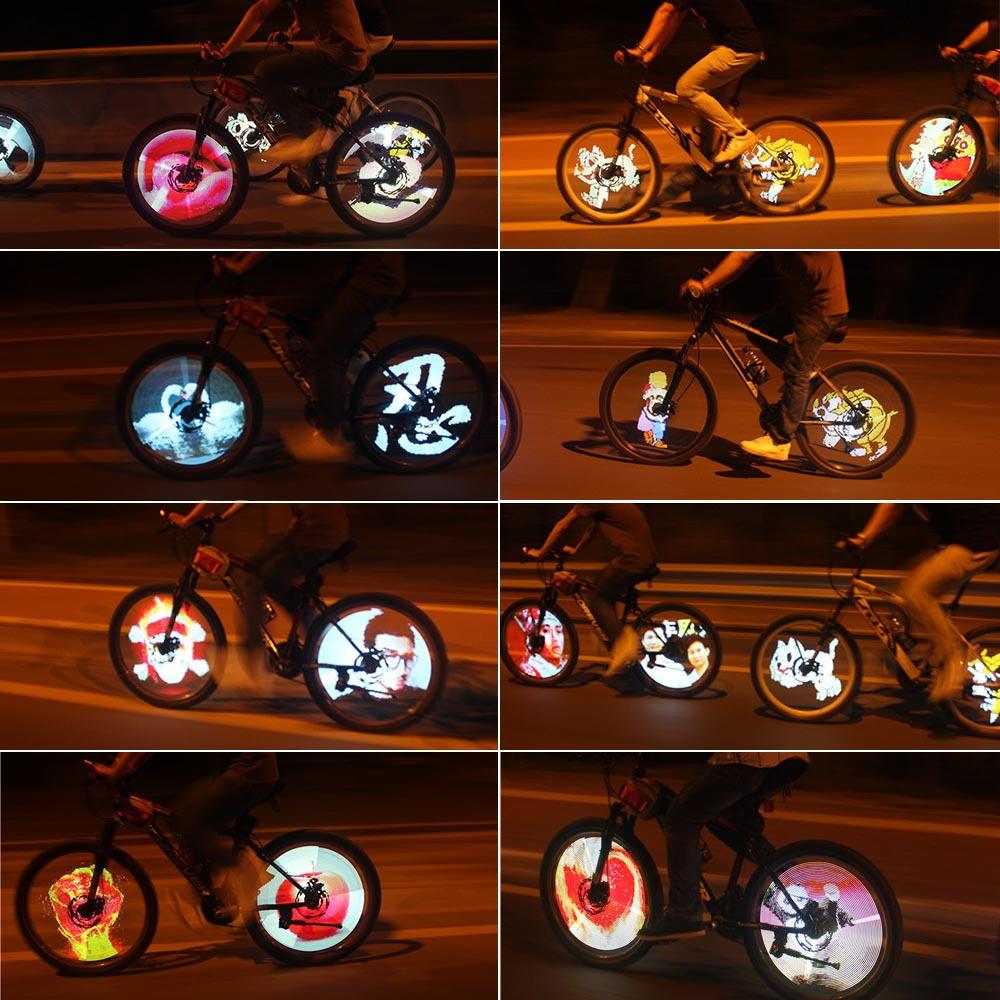 216 RGB LEDs 100 Modes 5 GIF Pictures Sensor Spoke Light Water Resistant DIY Bike Bicycle Wheel Light Color Changing(China (Mainland))